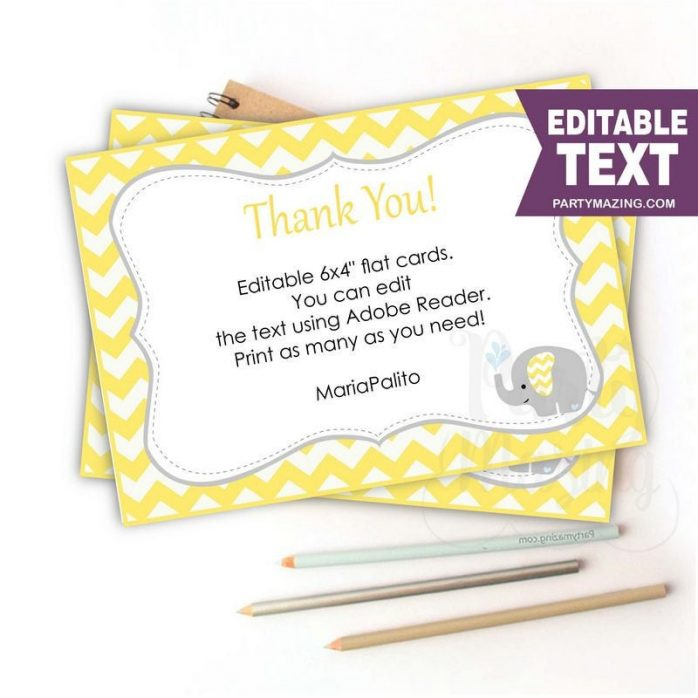 Editable Yellow Elephant Thank You Note Cards | E346