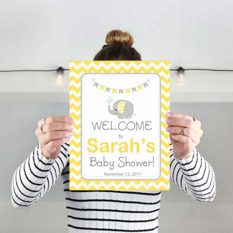 Editable Yellow Elephant Welcome Baby Shower Party Sign | E338