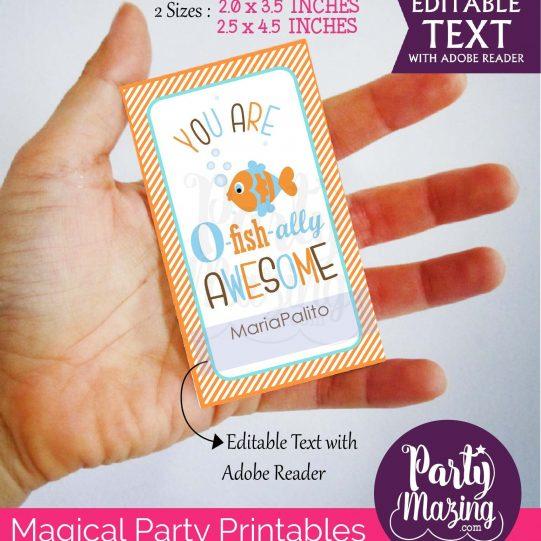 Editable You Are O-fish-ally Awesome Thank You Tags | Editable Rectangle Tag | E075