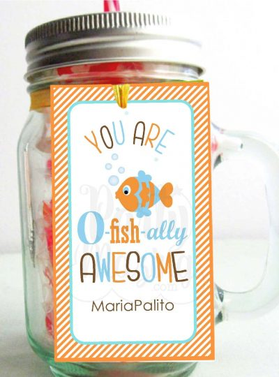 You Are O-fish-ally Awesome Printable Thank You Tags E075