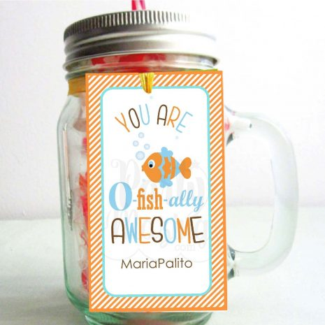 Editable You Are O-fish-ally Awesome Thank You Tags | Editable Rectangle Tag | E075