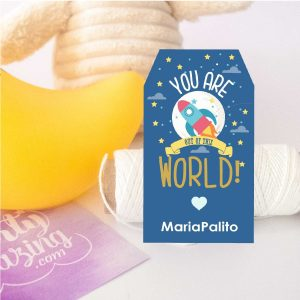 Editanle You are out of this World Rocket Printable Gift Tag | Editable Rectangle Tag | E070