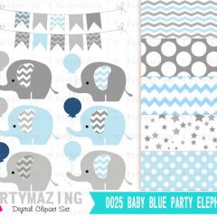 Elephant Baby Shower Clipart Set with Blue and Navy Blue Elephant Graphics with a Balloon| E241