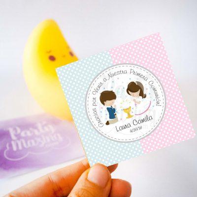 Etiqueta Editable Primera Comunion para Niño y Niña   Twins Favor Gift Tags   PK06   E127