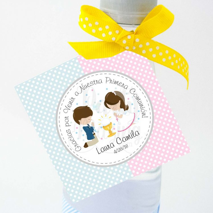 Etiqueta Editable Primera Comunion para Niño y Niña, Twins Favor Gift Tags, Sticker Labels or Gift Tags Labels | E127
