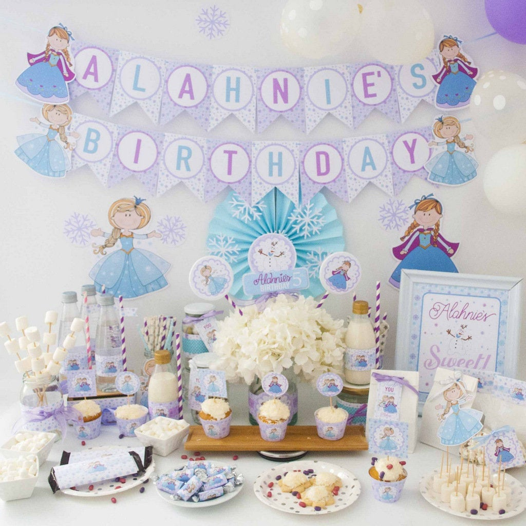 Hand Draw Personalized Printable Frozen Party Decor Custom Winter Frozen Birthday E390