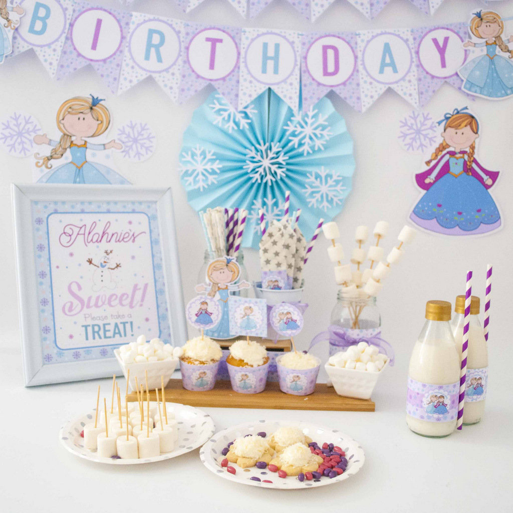 Hand Draw Personalized Printable Frozen Party Decor Custom Winter Frozen Birthday E390