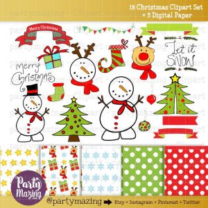 Hand Drawn Christmas Clipart Set with Matching Digital Paper Pack | E319