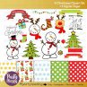 Hand Drawn Christmas Clipart Set with Matching Digital Paper Pack    E319