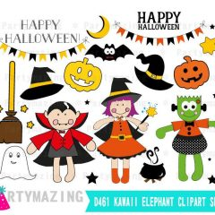 Hand-drawn Happy Halloween Clipart set, Frankenstein, Dracula  & Little witch Halloween Graphics | E385