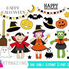 Hand-drawn Happy Halloween Clipart set, Frankenstein, Dracula  & Little witch Halloween Graphics | E385