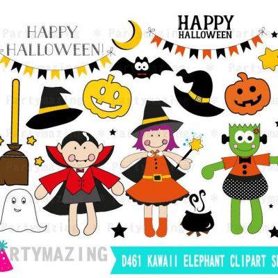 Hand-drawn Cute Halloween Clipart set| PK20 | E385