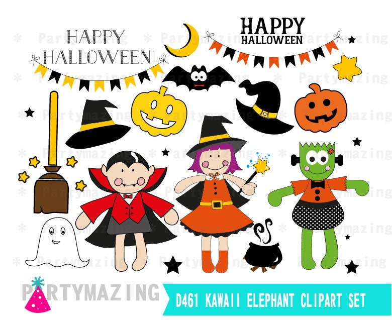 Hand-drawn Halloween clipart set | E385