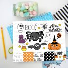 Hand-Drawn Halloween Clipart Set with a Spider, a Ghost, a Candy cane, a Cat and more spooky cute Drawings | E166