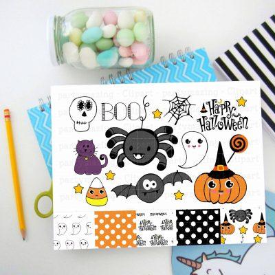 Hand-Drawn Halloween Clipart Set | Spooky cute Drawings | PK20 | E166