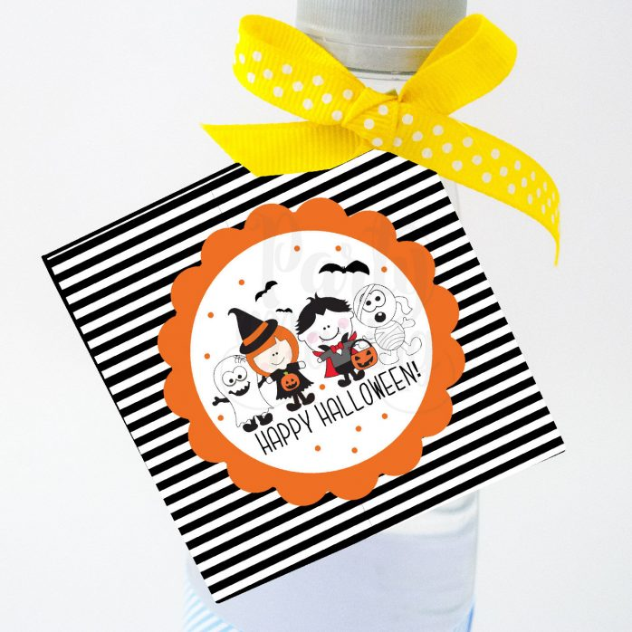 Hand Drawn Printable Little Kids Happy Halloween Bag Tags | E168