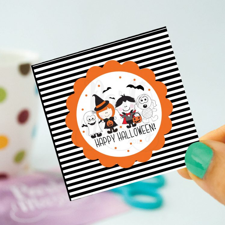 Hand Drawn Printable Little Kids Happy Halloween Bag Tags | E168