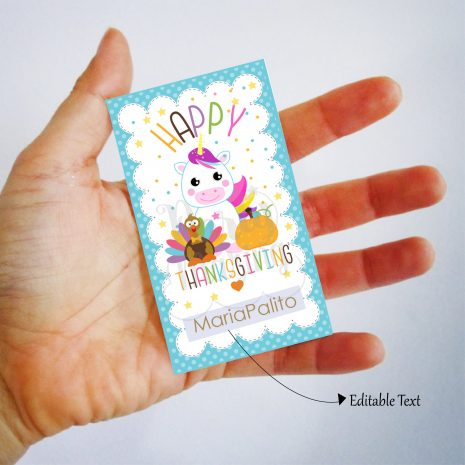 Kids Happy Thanksgiving Tag with a Turkey, a Unicorn, and a Pumpkin | Editable Rectangle Tag | E285