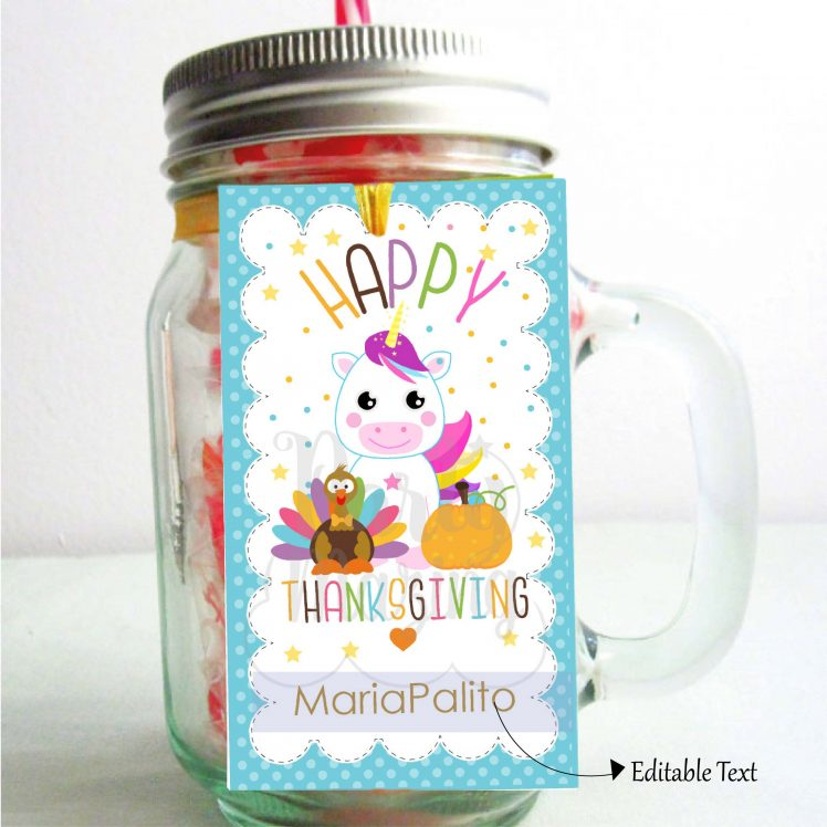 Kids Happy Thanksgiving Tag with a Turkey, a Unicorn, and a Pumpkin   Editable Rectangle Tag   E285