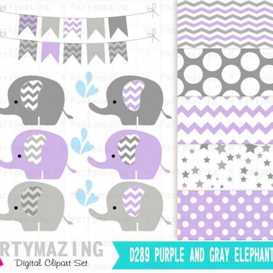 Lavender Elephant Sprinkling Water Nursery or Baby Shower Clipart Set with Matching Digital Paper Pack | E366