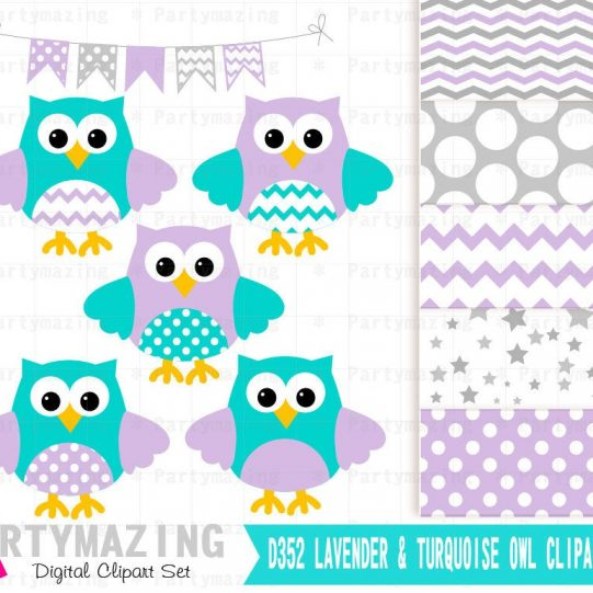 Lavender & Turquoise Owl ClipArt Set and Digital Paper Set  | E362