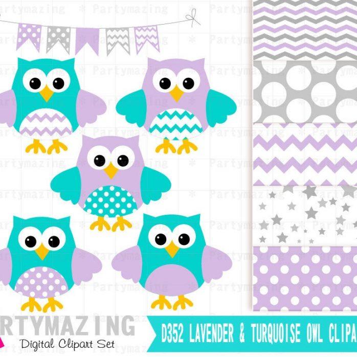 Lavender & Turquoise Owl ClipArt Set and Digital Paper Set    E362