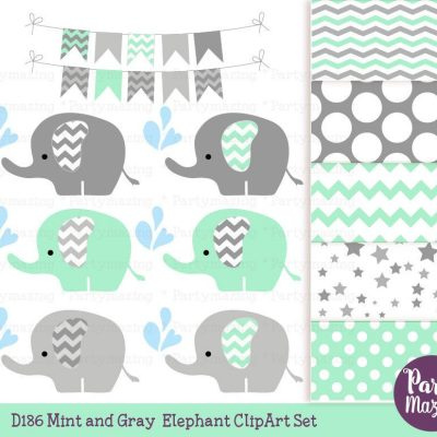 Mint Baby Elephant Clipart Set with Matching Digital Paper Set   E377