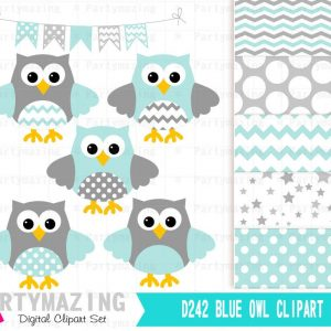 Mint Owl Baby Shower or Nursery Clipart Set including Matching Digital Paper Pack | E364