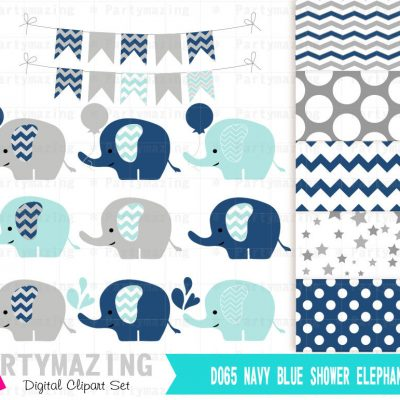 Navy Blue Baby Elephant Clipart Set With Elephants Sprinkle Water   E258
