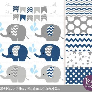 Navy Blue Baby Elephant Sprinkle Water Clipart Set & Digital Paper Pack | E361