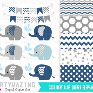 Navy Blue Elephant Clipart Set with Elephant Sprinkle Water | E283