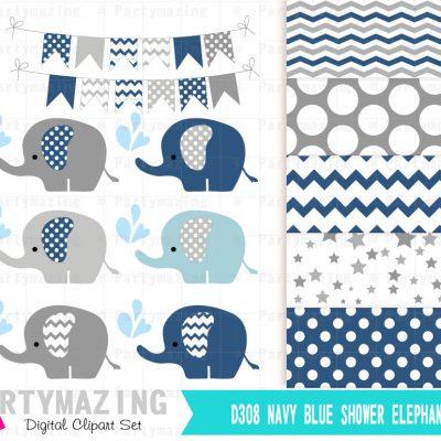 Navy Blue Elephant Clipart Set with Elephant Sprinkle Water   E283