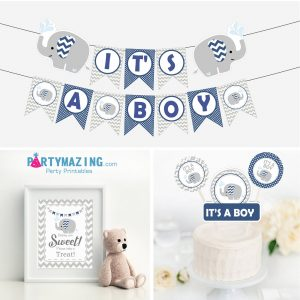 Navy Blue Elephant With Water Drops Baby Shower for your Best Friend Baby Boy Party | E318