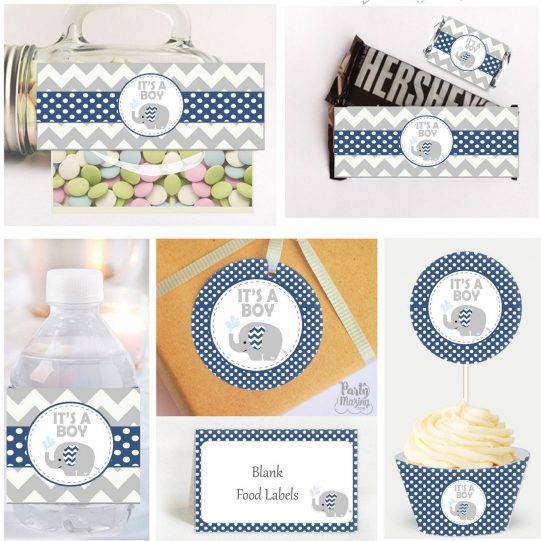 Navy Blue Elephant With Water Drops Baby Shower for your Best Friend Baby Boy Party   E318