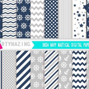 Navy Blue Nautical Digital Paper Pack | E327