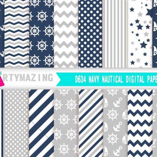Navy Blue Nautical Digital Paper Pack | E327