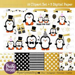 New Year Party Kawaii Penguin Clipart Graphics | E359