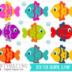 Ocean Fish Clipart Set Graphics, Under the sea Fish   E280