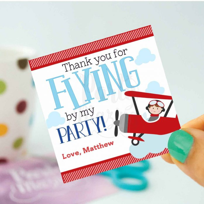 Personalized Airplane Favor Tags, Toppers or Sticker Labels for your Transportation or Airplane Party | E226