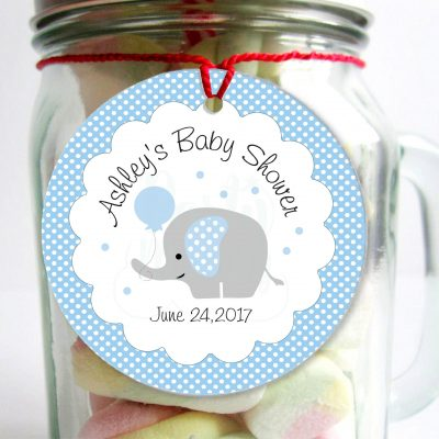 Personalized  Baby Blue Elephant Tags, Toppers or Sticker Labels for your Boy 1st Birthday party or Baby Shower | E230