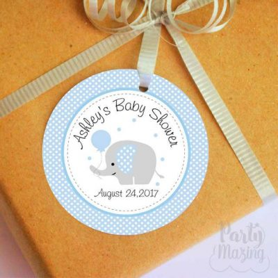 Personalized Blue Elephant Tags, Toppers or Sticker Labels for your Boy Baby Shower or 1st Birthday Party | E228