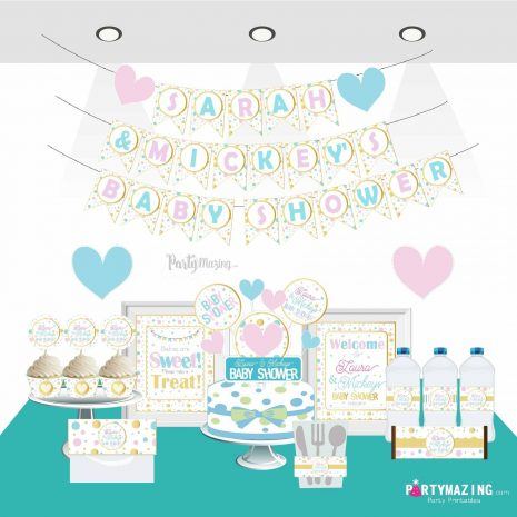 Personalized Girl and Boy Baby Shower Party Decor Set, Pink, Blue and Gold Polka Dot Decor | E303