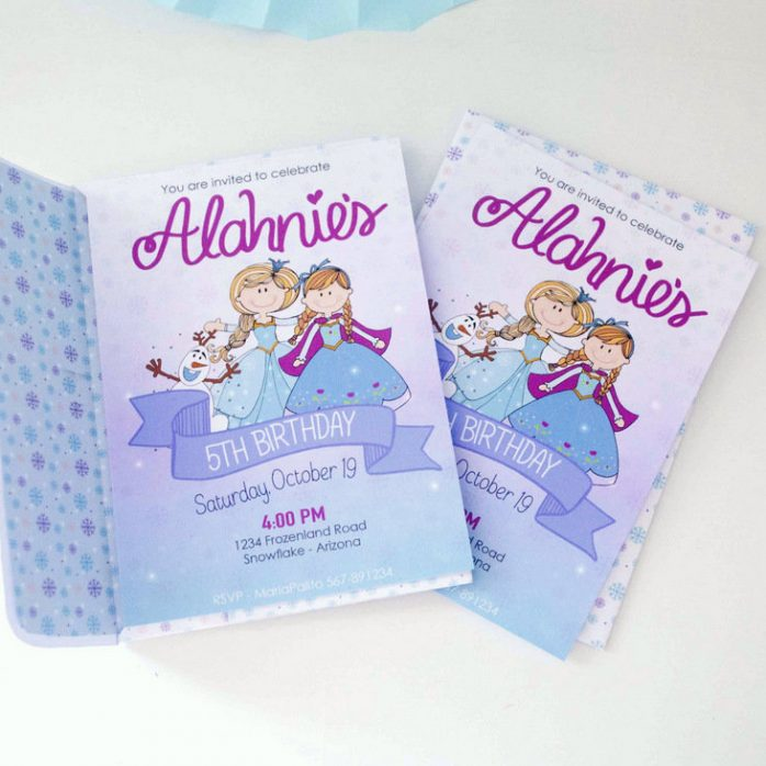 Personalized Hand Drawn Frozen Birthday Printable Invitation for your Winter Birthday Party E391
