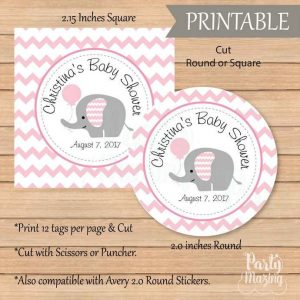 Personalized Pink Elephant Baby Shower Tags, Toppers or Sticker Labels for your Baby Girl Baby Shower or 1st Birthday Party | E229
