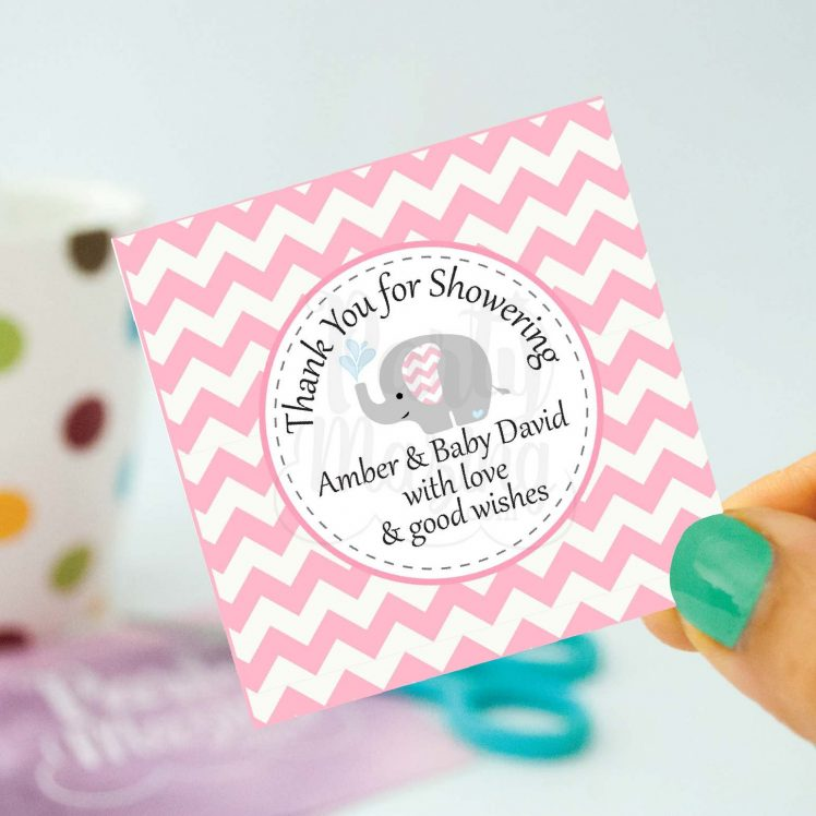 Personalized Pink Elephant Tags | Printable Girl Baby Shower Stickers | You Print | Thank You Party Favor Tag | Toppers | BBEP2 | E099