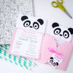 Pink Little Panda Invitation Set | Printable Invite for Birthday or Baby Shower | E387