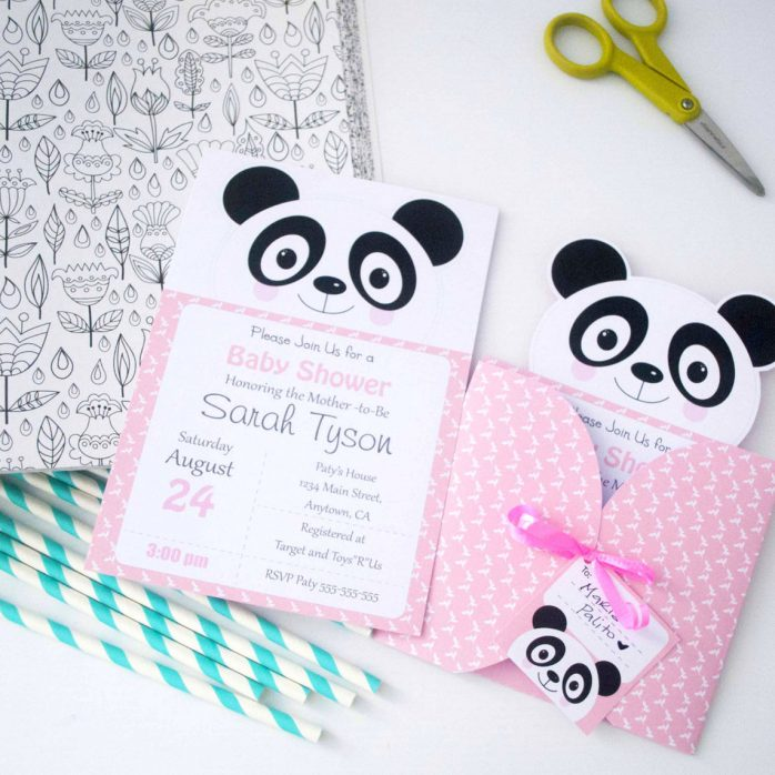 Personalized Pink Little Panda Printable Invitation Set for your Girl's Birthday or Your Friend's Baby Shower | E387