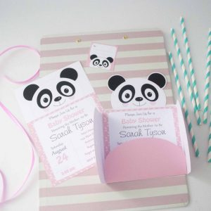 Pink Little Panda Invitation Set | Printable Invite for Birthday or Baby Shower | E387