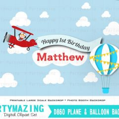 Personalized Printable AirPlane Birthday Backdrop with Plane and Hot Balloon | E037