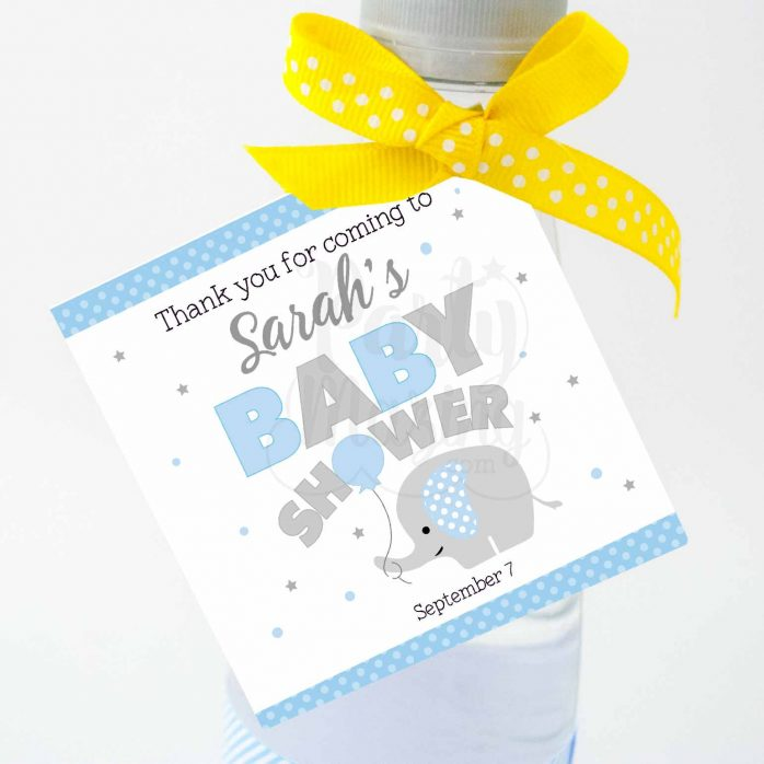 Personalized Printable Blue Elephant Tags, Toppers or Sticker Labels for your Boy Baby Shower | E231